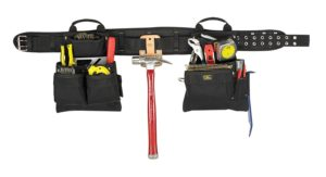 Custom Leathercraft 5608 Carpenter's Combo Tool Belt with Double-Tongue Steel Roller Buckle, 17-Pocket, 4-Piece